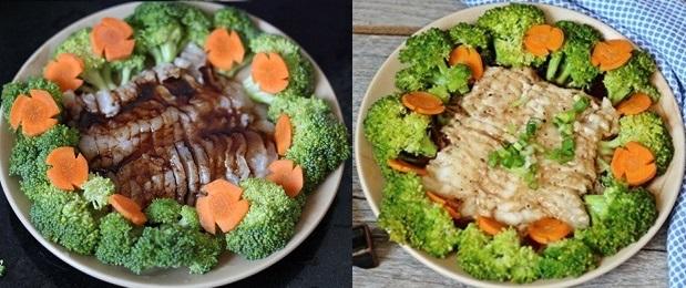 Cá basa phi lê hấp bông cải xanh
