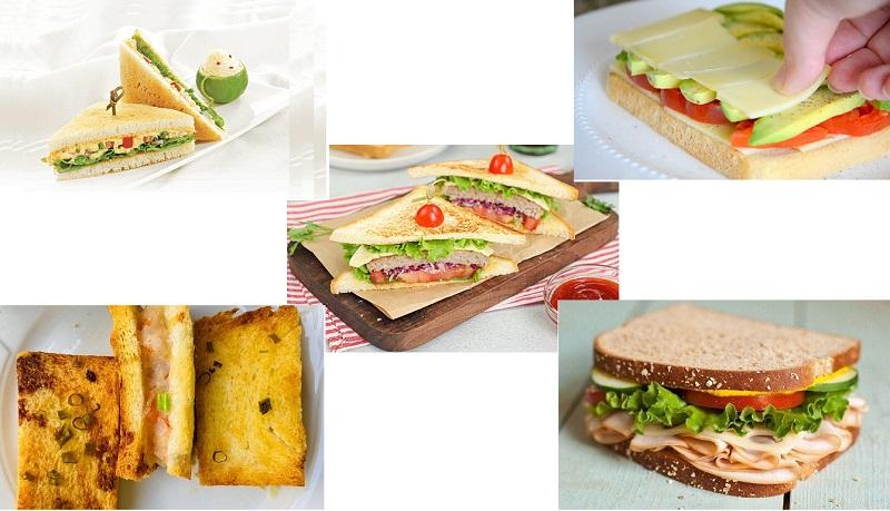 các món ăn với bánh mì sandwich